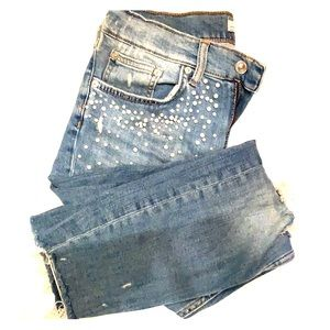 Zara jeans with pearl distress detail